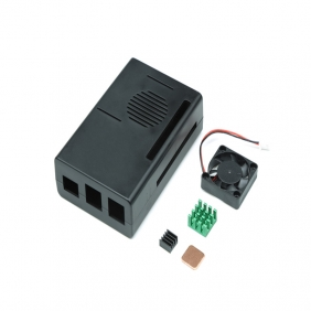 Black ABS Case Enclosure Box With Mini Cooling Fan And Heatsink Kit For Raspberry Pi 3B