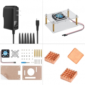 Raspberry Pi 3 Case Acrylic Protective Cover & Cooling Fan & Micro USB Power Supply 5V 2.5A With 3PCS Copper Heatsink 4 in 1 Professional Kit for Raspberry Pi